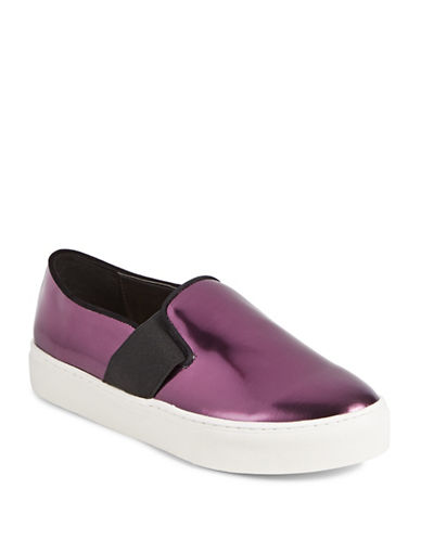Dkny Metallic Leather Flatforms-BORDEAUX-7.5