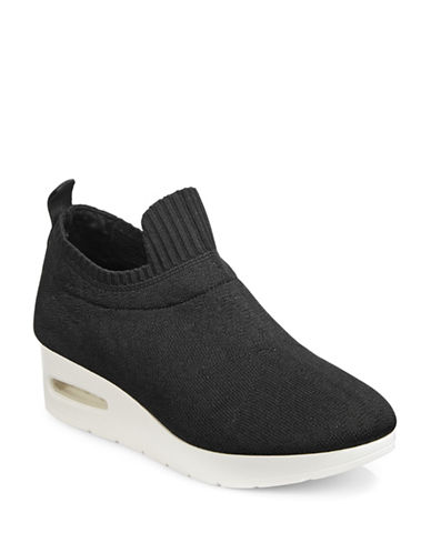 Dkny Angie Low Wedge Slip-On Sneakers-BLACK-8.5