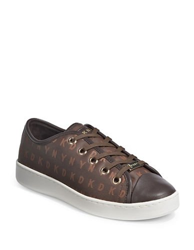 Dkny Logo Lace-Up Sneakers-BROWN-7.5