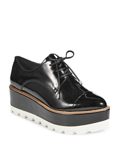 Dkny Uptown Lace-Up Leather Platform Derbys-BLACK-9