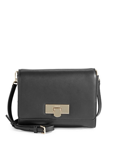 Dkny Flap Buckle Shoulder Bag-BLACK-One Size