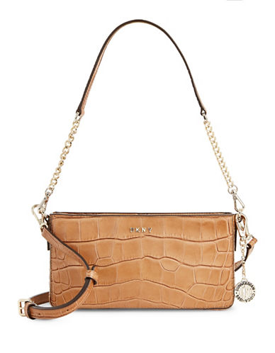 Dkny Textured Leather Shoulder Bag-BEIGE-One Size