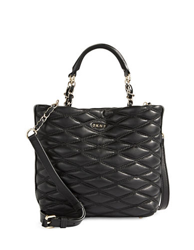 Dkny Leather Mini Shopper Bag-BLACK-One Size