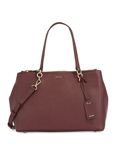 Dkny Pebbled Leather Shopper Bag-RED-One Size