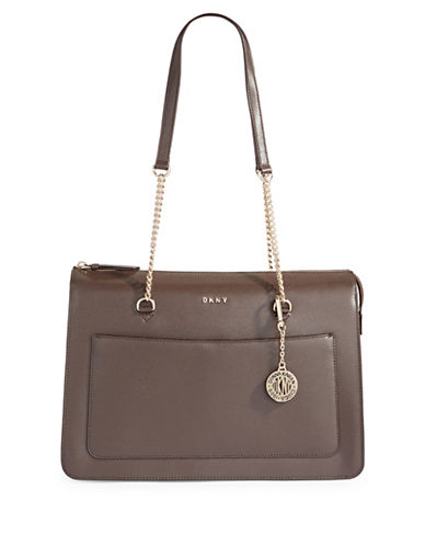 Dkny Leather Top Zip Tote-BROWN-One Size