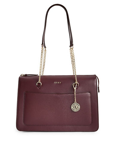 Dkny Leather Top Zip Tote-CORDOVAN-One Size