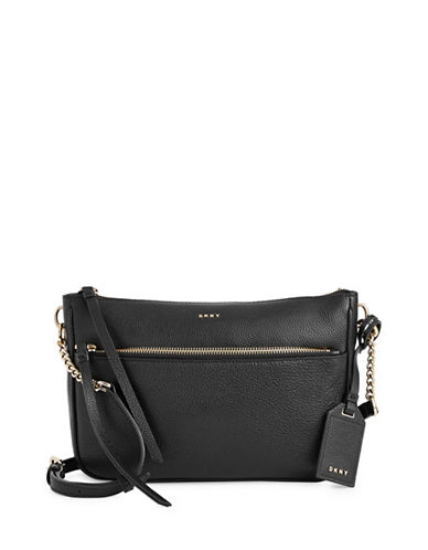 Dkny Cordova Leather Crossbody Bag-BLACK-One Size