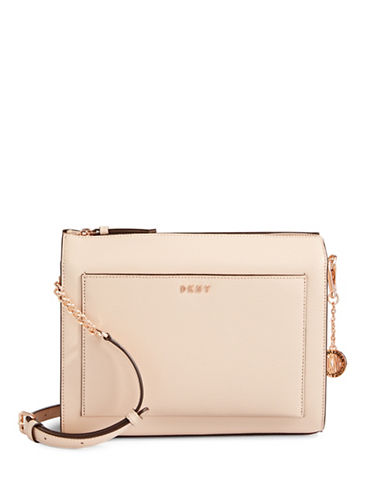 Dkny Medium Boxy Leather Crossbody Bag-IVORY-One Size