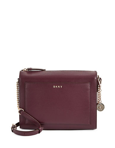 Dkny Medium Boxy Leather Crossbody Bag-RED-One Size