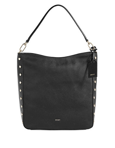 Dkny Studded Leather Hobo Bag-BLACK-One Size