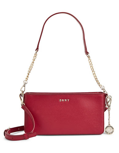 Dkny Convertible Leather Bag-SCARLET RED-One Size