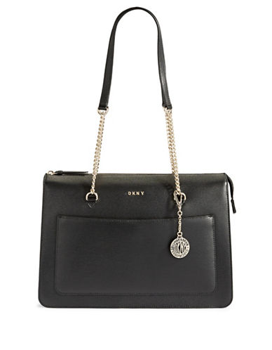 Dkny Leather Top Zip Tote-BLACK-One Size