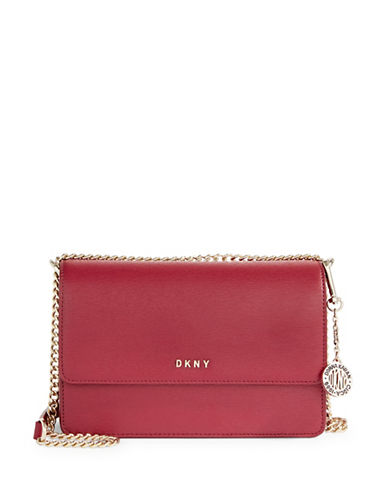 Dkny Leather Crossbody Bag-RED-One Size