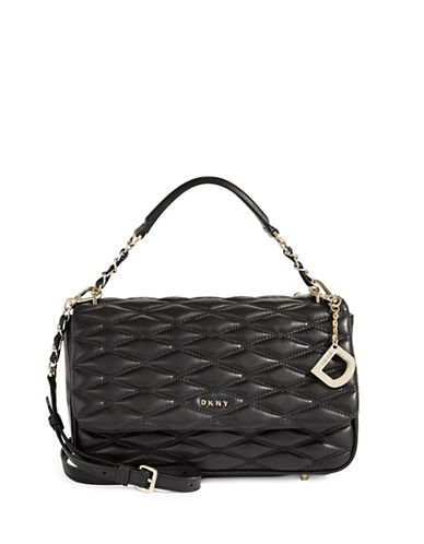 Dkny Quilted Leather Shoulder Bag-BLACK-One Size
