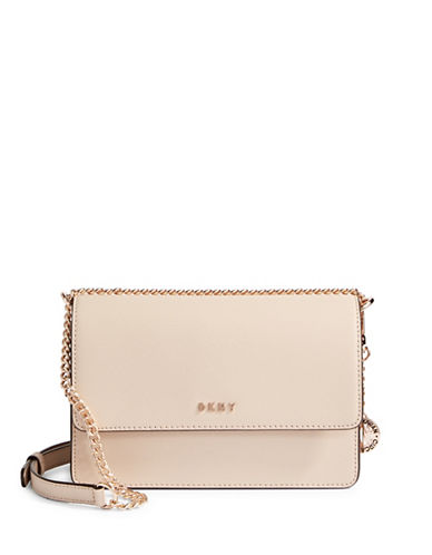 Dkny Leather Crossbody Bag-GREY-One Size