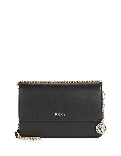 Dkny Leather Crossbody Bag-BLACK-One Size