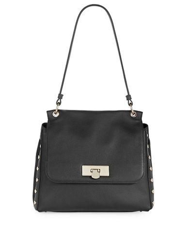 Donna Karan Studded Large Leather Shoulder Bag-BLACK-One Size
