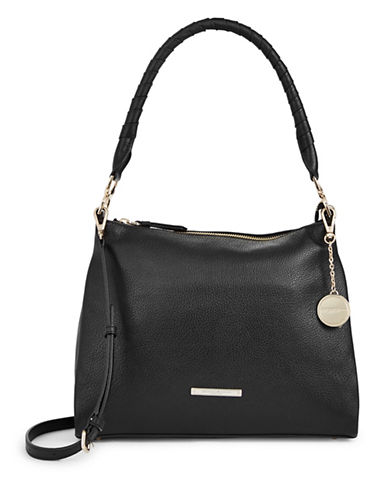 Donna Karan Chelsea Pebbled Leather Hobo-BLACK-One Size
