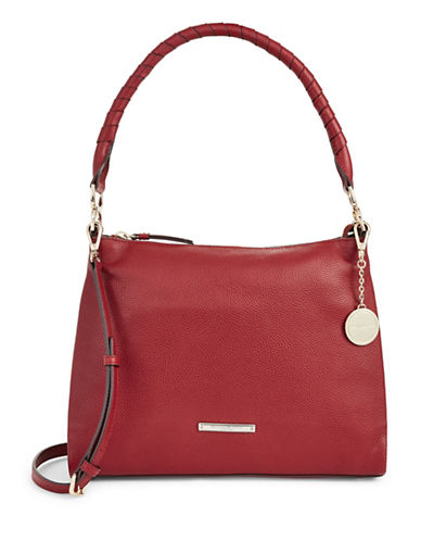 Donna Karan Chelsea Pebbled Leather Hobo-RED-One Size