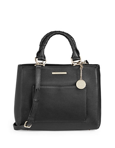 Donna Karan Pebbled Leather Top-Handle Bag-BLACK-One Size