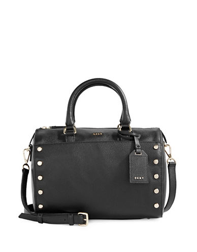 Dkny Studded Leather Satchel-BLACK-One Size