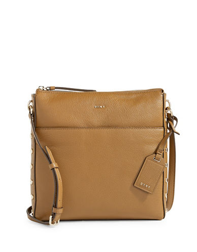 Dkny Studded Leather Crossbody Bag-BEIGE-One Size