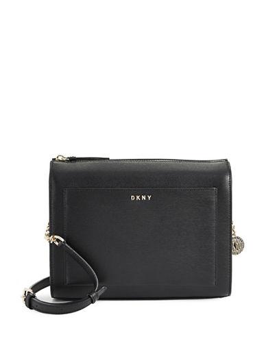 Dkny Medium Boxy Leather Crossbody Bag-BLACK-One Size