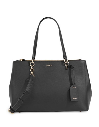 Dkny Pebbled Leather Shopper Bag-BLACK-One Size