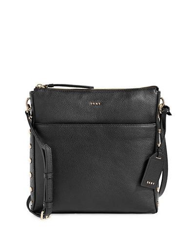 Dkny Studded Leather Crossbody Bag-BLACK-One Size