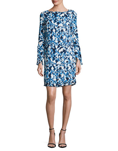 Dkny Printed Ruffle Sleeve Shift Dress-MULTI-4