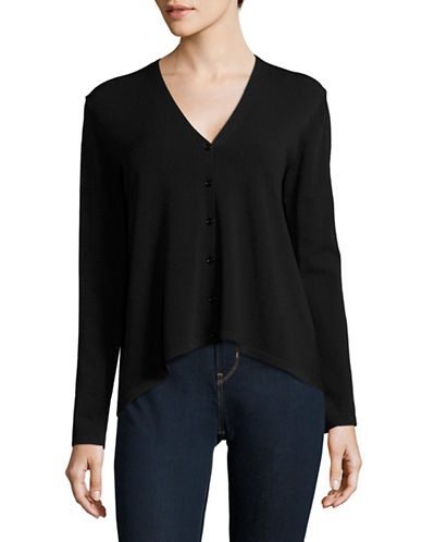 Weekend Max Mara Zefir Ribbed Hi-Lo Cardigan-BLACK-X-Small