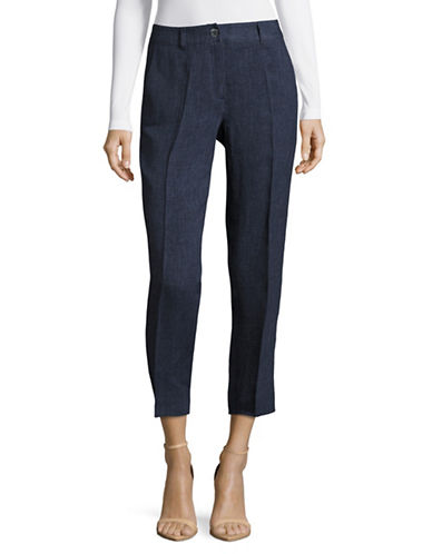 Weekend Max Mara Oxa  Linen Pants-BLUE-EUR 50/US 16