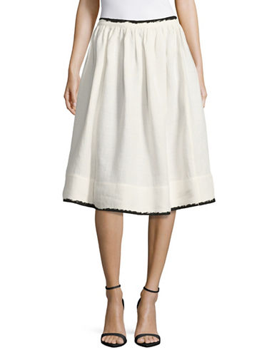 Weekend Max Mara Secchia Metallic-Trim Linen A-Line Skirt-WHITE-EUR 48/US 14