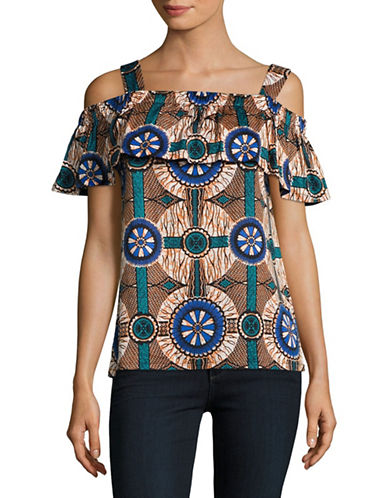 Weekend Max Mara Acino Printed Off-the-Shoulder Top-GREEN-X-Small