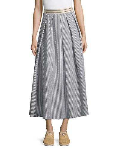 Weekend Max Mara Striped A-Line Skirt-BLACK/WHITE-EUR 40/US 6