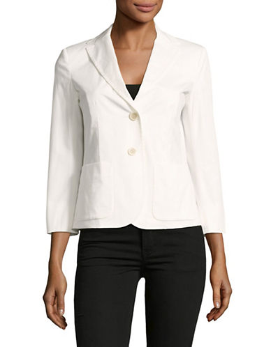Weekend Max Mara Teresa Long Sleeve Jacket with Pockets-WHITE-EUR 50/US 16
