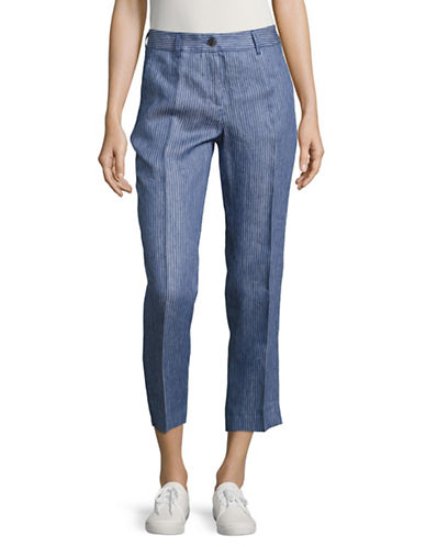 Weekend Max Mara Biblios Striped Linen Crop Pants-BLUE-EUR 40/US 6