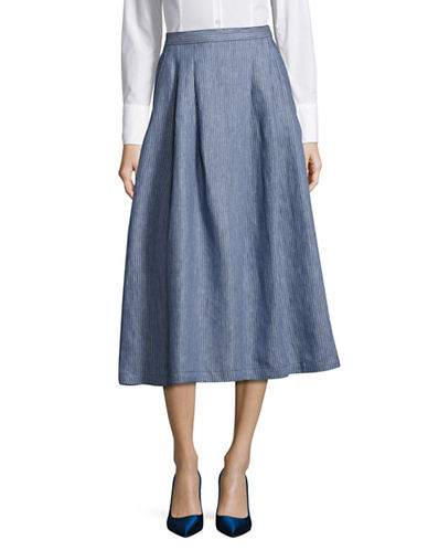 Weekend Max Mara Vallet Stripe Flax Linen Midi Skirt-BLUE-EUR 42/US 8