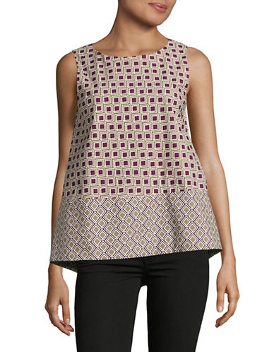 Weekend Max Mara Ermanna Split Back Print Sleeveless Top-RED-EUR 38/US 4