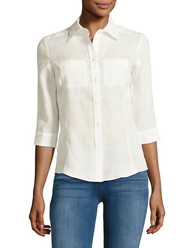 Weekend Max Mara Bassano Linen Blouse-WHITE-EUR 40/US 6