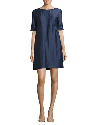 Weekend Max Mara Astrale Linen-Silk Dress-BLUE-EUR 40/US 6