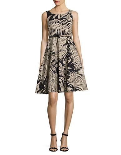 Max Mara Studio Detroit Palm Print Dress-MULTI-EUR 38/US 4
