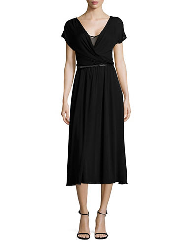 Max Mara Studio Ariano Belted Surplice Dress-BLACK-Medium