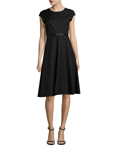 Max Mara Studio Calate Woven Fit-and-Flare Dress with Belt-BLACK-EUR 48/US 14