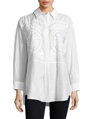 Max Mara Studio Vezzo Embroidered Cotton Shirt-NATURAL-EUR 40/US 6