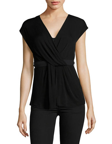 Max Mara Studio Surplice Knit Top-BLACK-Small 89120893_BLACK_Small