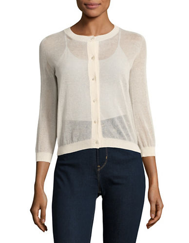 Max Mara Studio Sheer Button-Up Cardigan-IVORY-XX-Large