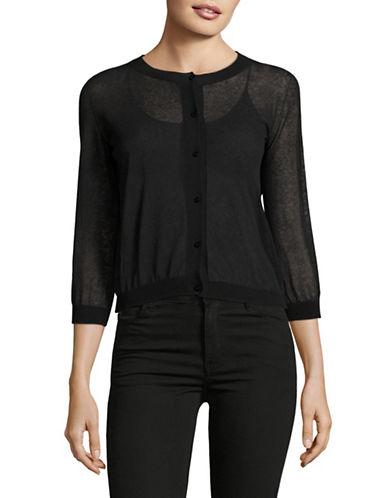 Max Mara Studio Sheer Button-Up Cardigan-BLACK-XX-Large