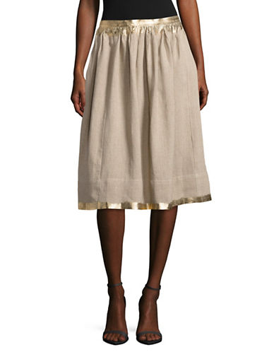Weekend Max Mara Secchia Metallic-Trim Linen A-Line Skirt-BEIGE-EUR 46/US 12