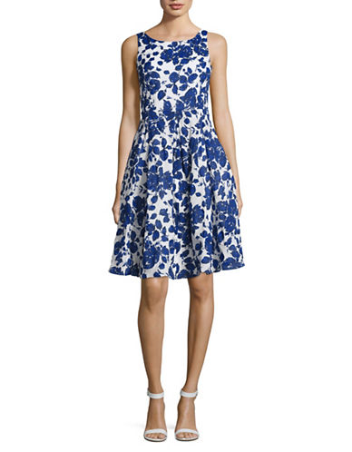 Weekend Max Mara Pamela Floral-Print Fit-and-Flare Dress-BLUE-EUR 44/US 10